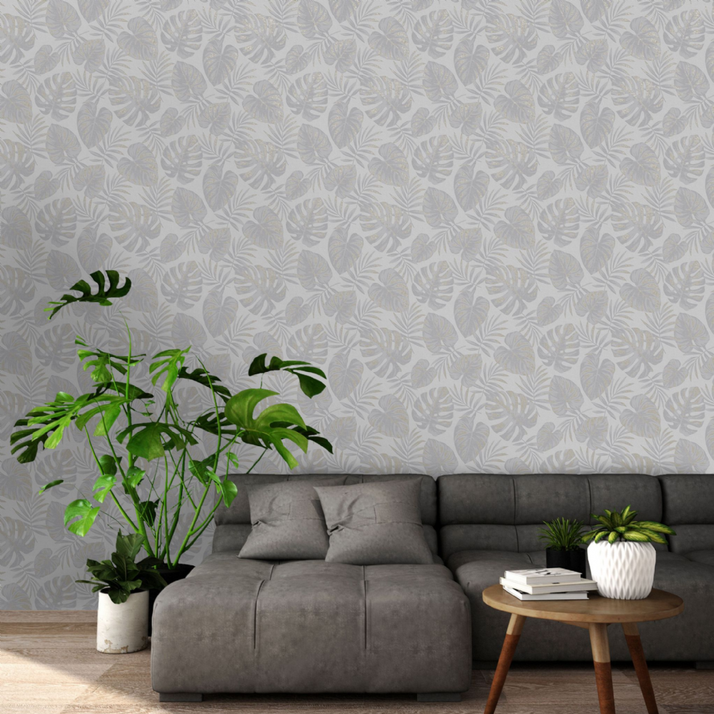 Holden Decor Riviera Leaf Grey 75910 Wallpaper
